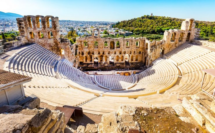Athens, Greece - October 14, 2016: Ancient herodes atticus theater amphitheater of Acropolis of Athens, landmark of Greece